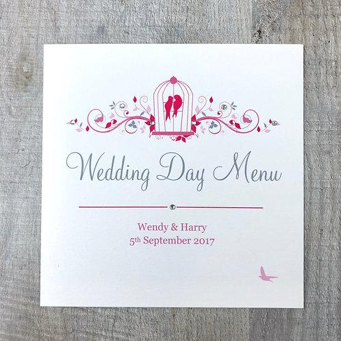 Pink wedding day menu