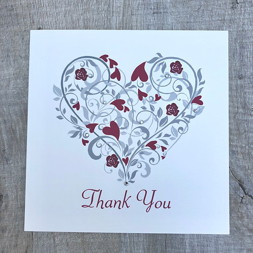 red heart thank you cards