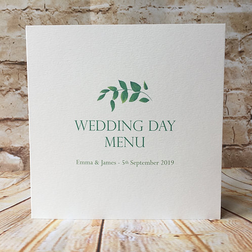 Botanical Wedding Day Menu