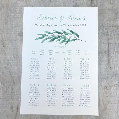 Botanical Wedding table Plan