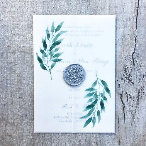 Leaf vellum invitation