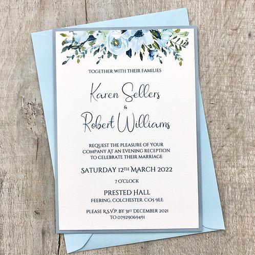 dusky blue wedding invite