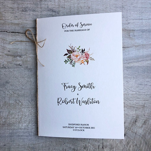 rustic floral order of service