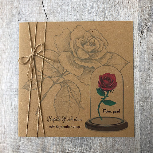 Vintage Red Rose (Thank You Card)