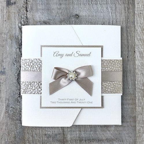 Taupe wedding invitations