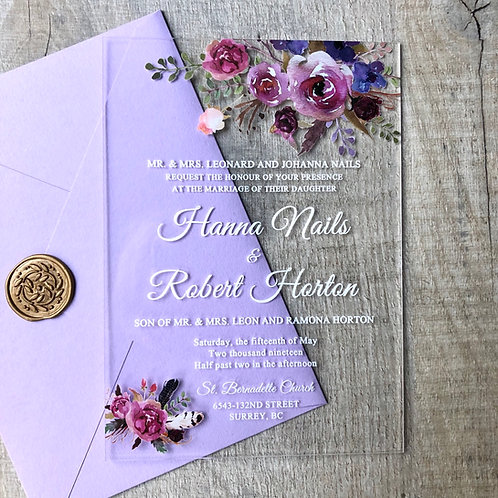 lilac acrylic invitation