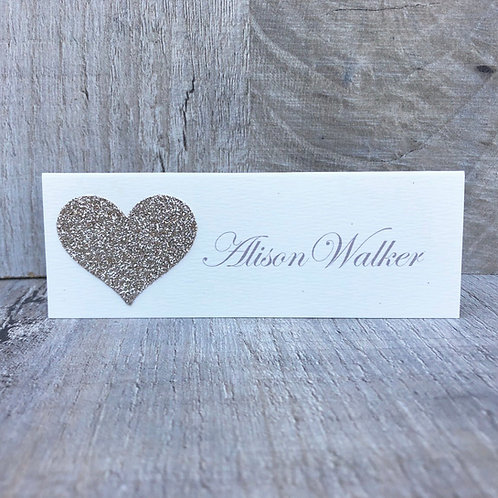 Glitter Heart (Guest Name Place Card)