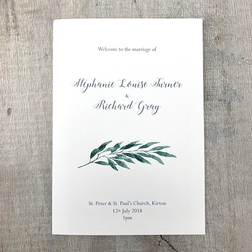 Botanical leaf Order of Service