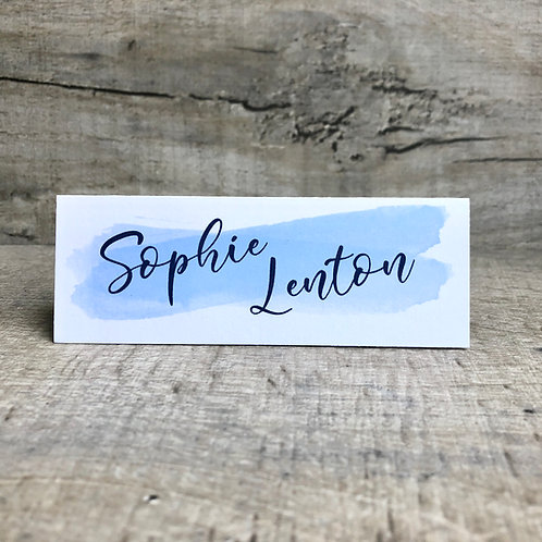 blue wedding name place cards