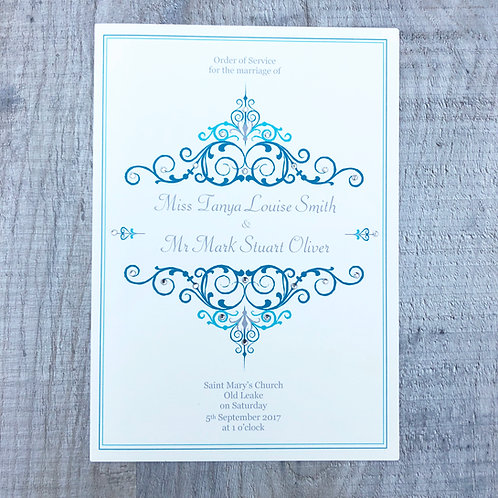 Teal Wedding Order of Service