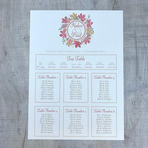 Autumn Wedding Table Plan
