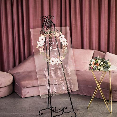 peach acrylic wedding table plan