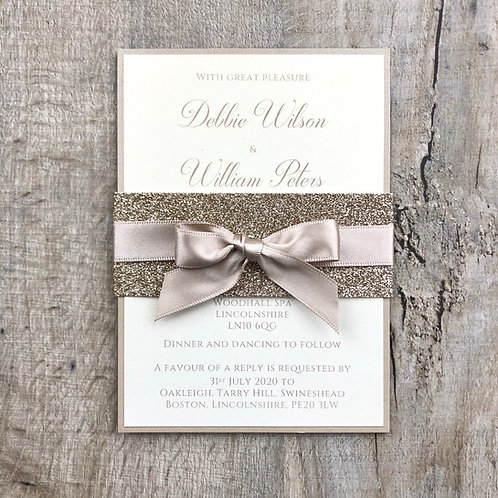 Gold and taupe wedding invitations