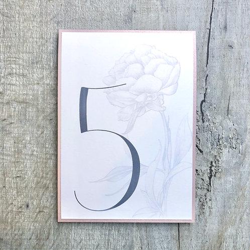 wedding peony table numbers