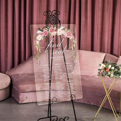 Pink rose acrylic table plan
