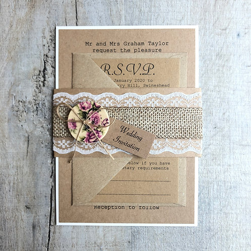 Hessian wedding invite