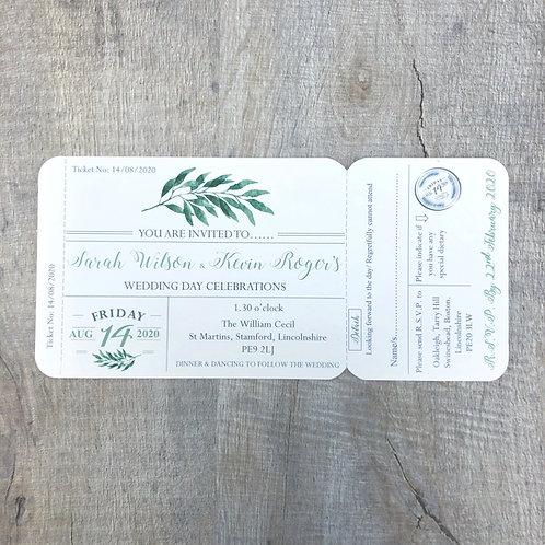 Botanical ticket invitation