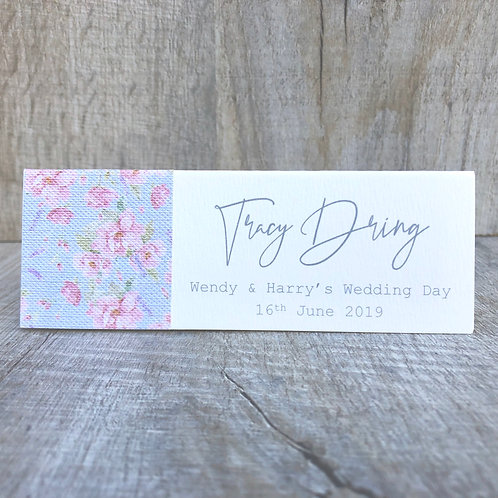 pink and blue vintage name place cards