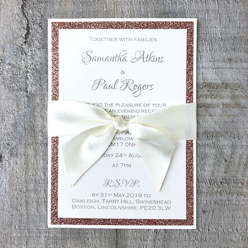 Glitter & Bow (A6 Flat Wedding Invitation)