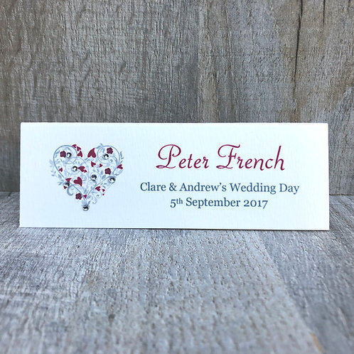 Heart Guest Names Place Card