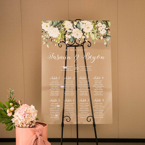 Floral acrylic wedding Table plan