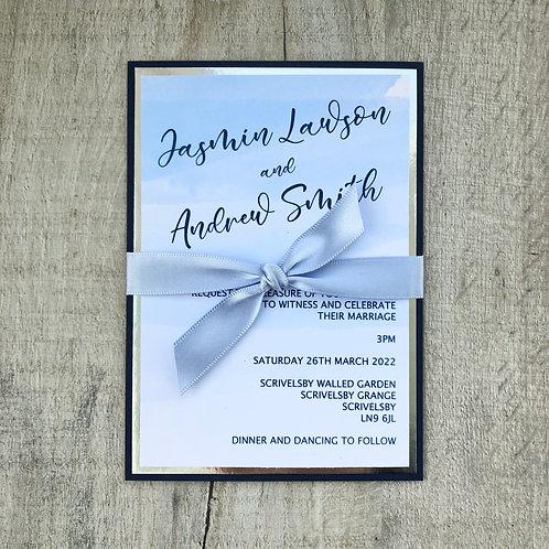 Watercolour wash wedding invitation