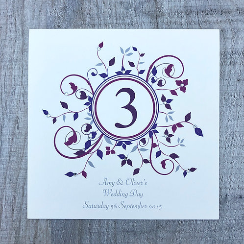 Burgundy table number