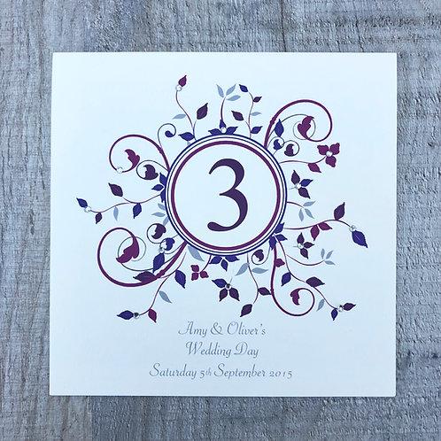 Burgundy table number