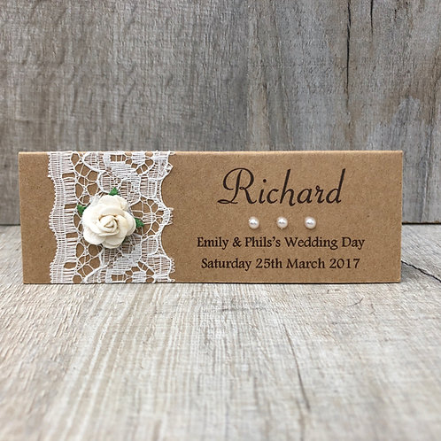 Vintage Lace wedding name place card