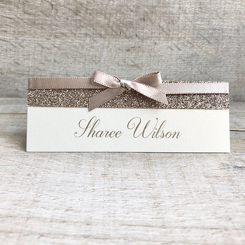 gold name place card