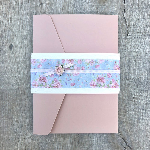 Blush Pink pocket fold wedding invites