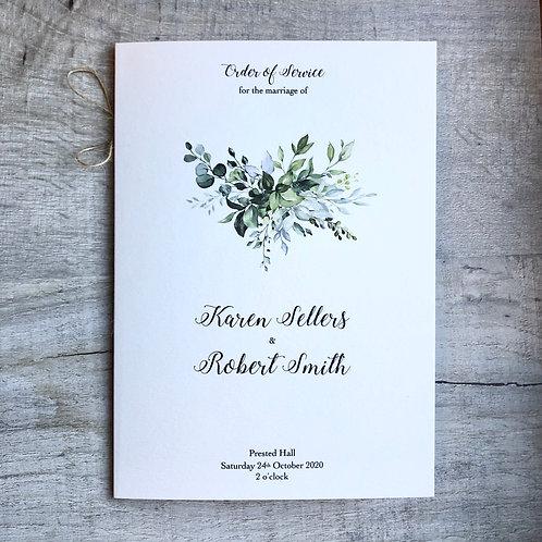 botanical wedding order of service