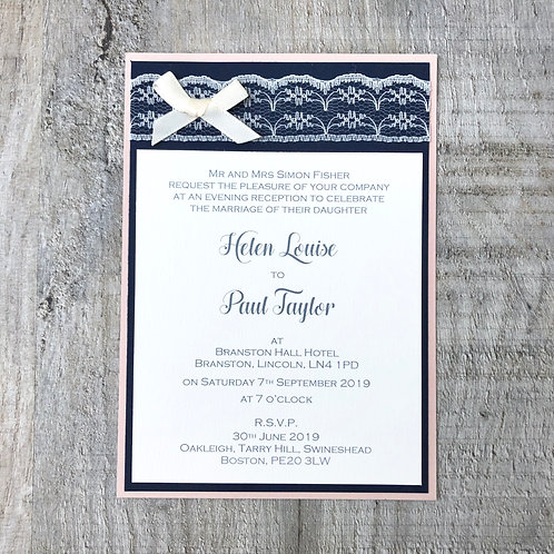 Blush & Navy Wedding Invitation