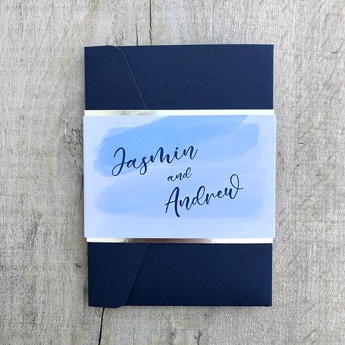 Navy and blue pocket invitation