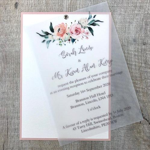 Blush vellum wedding invite
