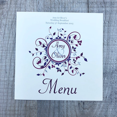 burgundy Wedding menu