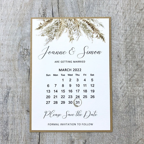Pampas grass save the date