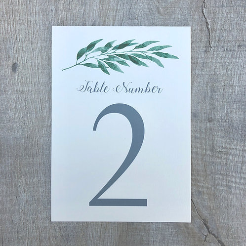 Botanical leaf table numbers