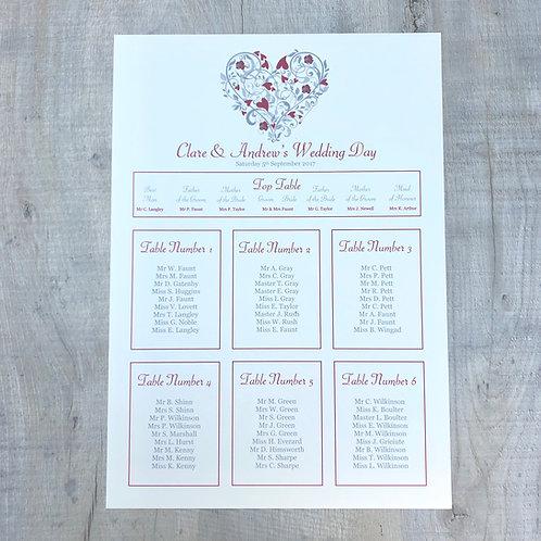 Heart Wedding Table Plan