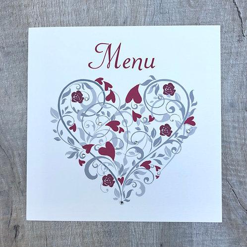 Love Heart Wedding Menu