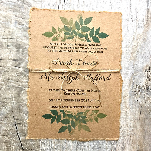 rustic botanical wedding invite bundle