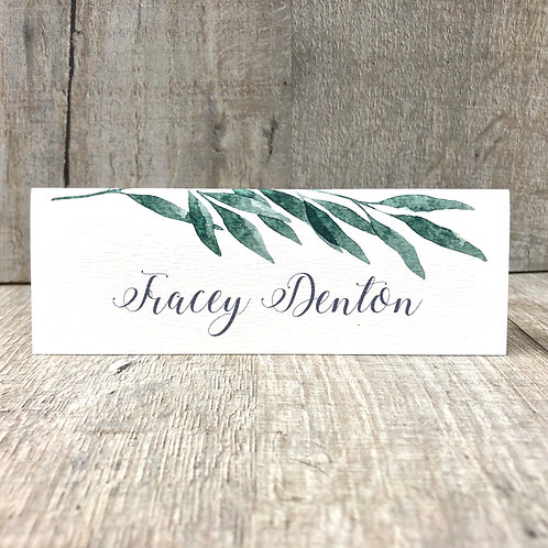 Botanical leaf name place card