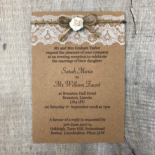 rose twine kraft wedding invites