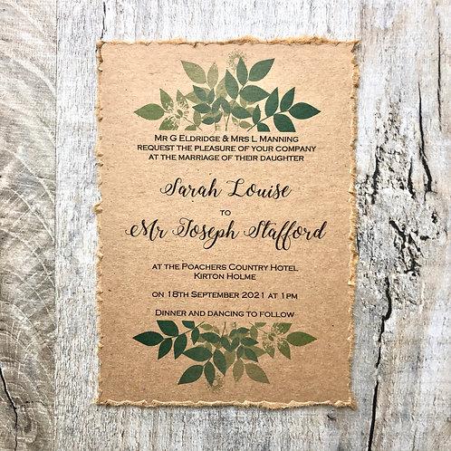 rustic botanical wedding invites