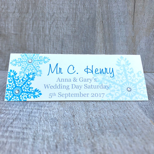 Snowflakes Guest Name Place Card
