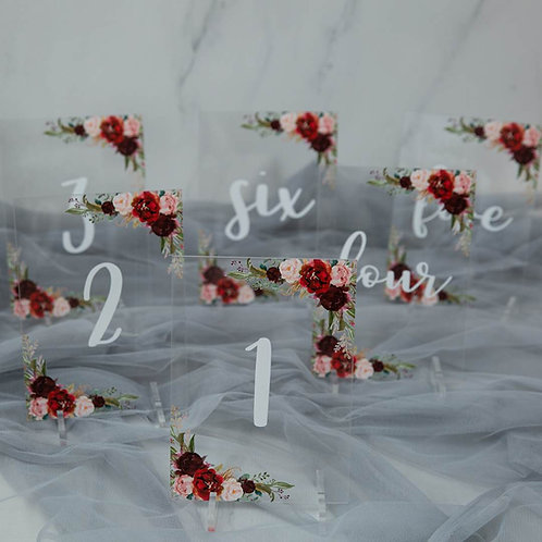 burgundy acrylic table number