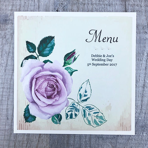 Vintage Rose Wedding Menu