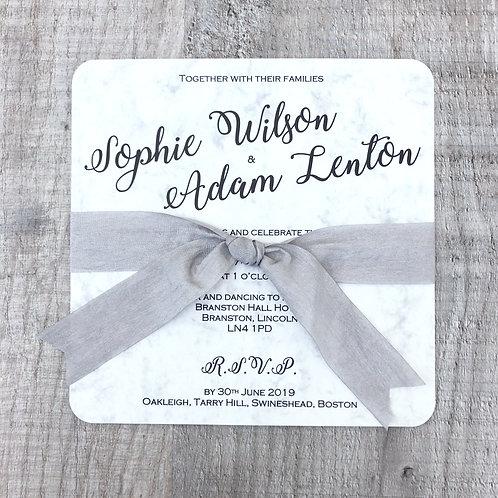 Marble (Square Flat Wedding Invitation)