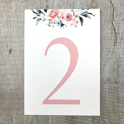blush wedding table numbers