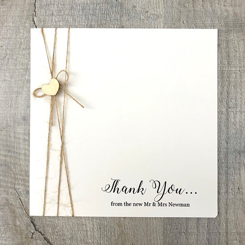 Simple wedding thank you card
